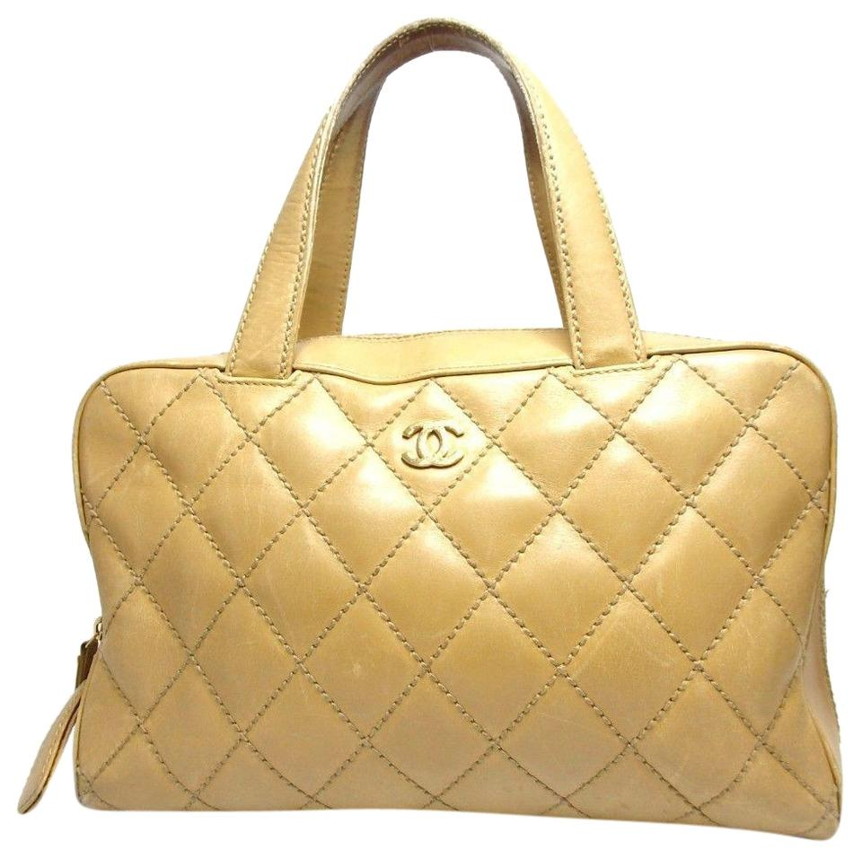 4a0a71686430 Chanel Wild Stitch Tote Handbag Antique Yellow Leather Shoulder Bag ...