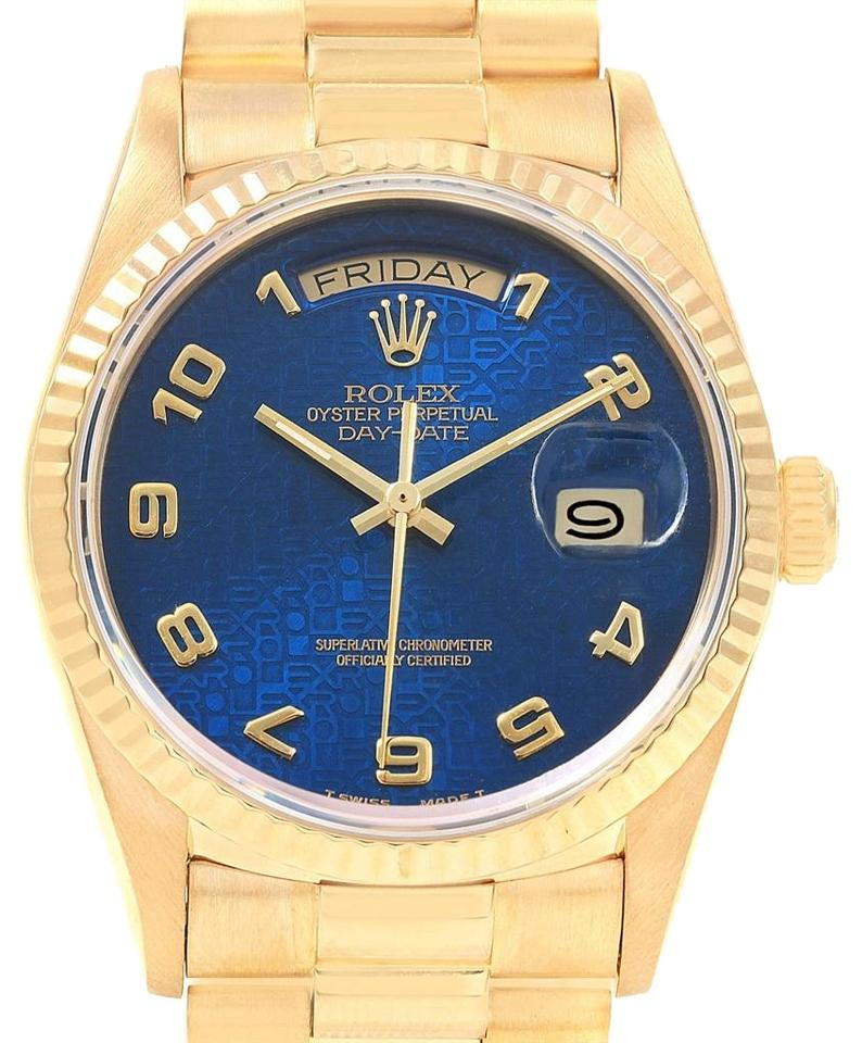 abfb5dc4b Rolex Rolex President Day-Date Yellow Gold Blue Jubilee Dial Mens 18038  Image 0 ...