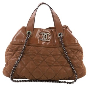 Chanel In The Mix Calfskin Satchel in Brown