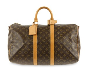15877d140ed5 Louis Vuitton Keepall Canvas Brown Travel Bag