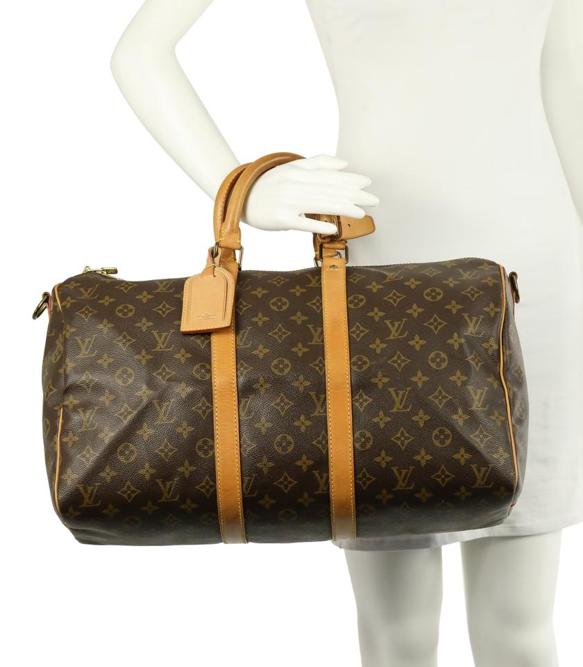 64ebcb0ca0816 Louis Vuitton Keepall 45 Bandouliere Brown Coated Canvas Weekend Travel Bag