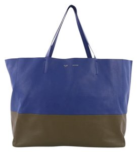 Céline Bi-cabas Tote in Blue and Taupe