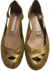 Pura Lopez Casual Comfortable Leather Evening Gold Flats
