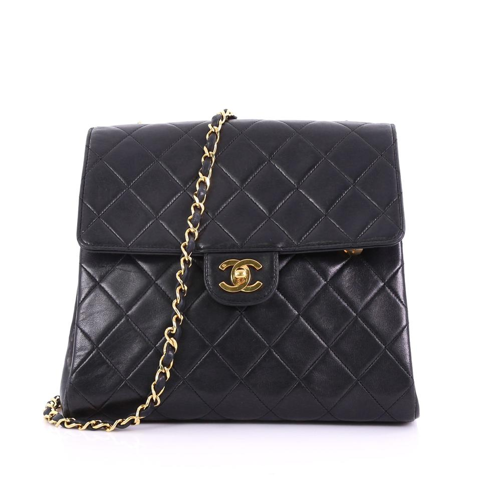 14c6fc237527 Chanel Classic Flap Vintage Square Quilted Small Black Lambskin Leather  Cross Body Bag