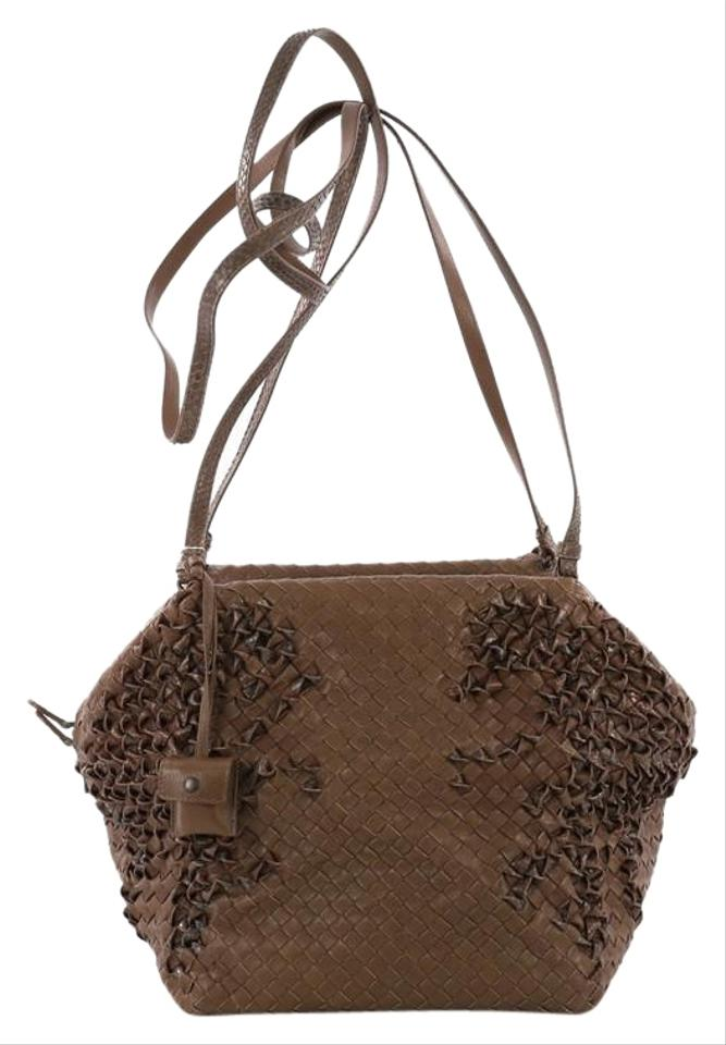 b6af84947a Bottega Veneta Hexagon Intrecciato Nappa and Python Large Brown Leather Shoulder  Bag