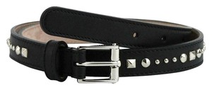 Gucci Women's Silver Buckle Studded Black Leather Belt 380561 1000 (75 / 30)