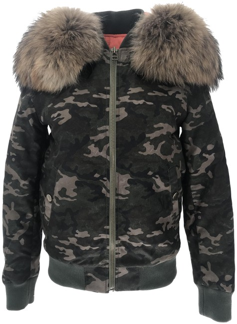 Item - Green Camouflage Hooded Bomber Coat Size 4 (S)