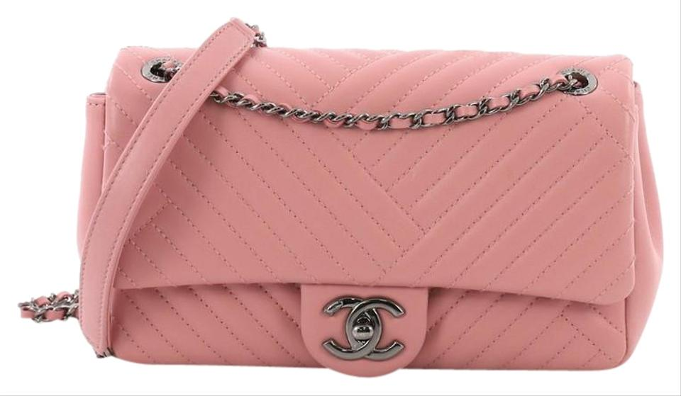 c5b2a91b38 Chanel Classic Flap Cc Crossing Chevron Medium Pink Lambskin Leather  Shoulder Bag