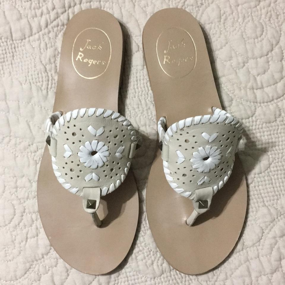 559c5e3d6a0 Jack Rogers Bone and White Georgica Sandals Size US 5.5 Regular (M ...