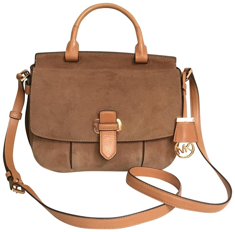 4dfc8a30417a Michael Kors Purse Handbag Saddle Cross Body Top Handle Brown Messenger Bag  Image 0 ...