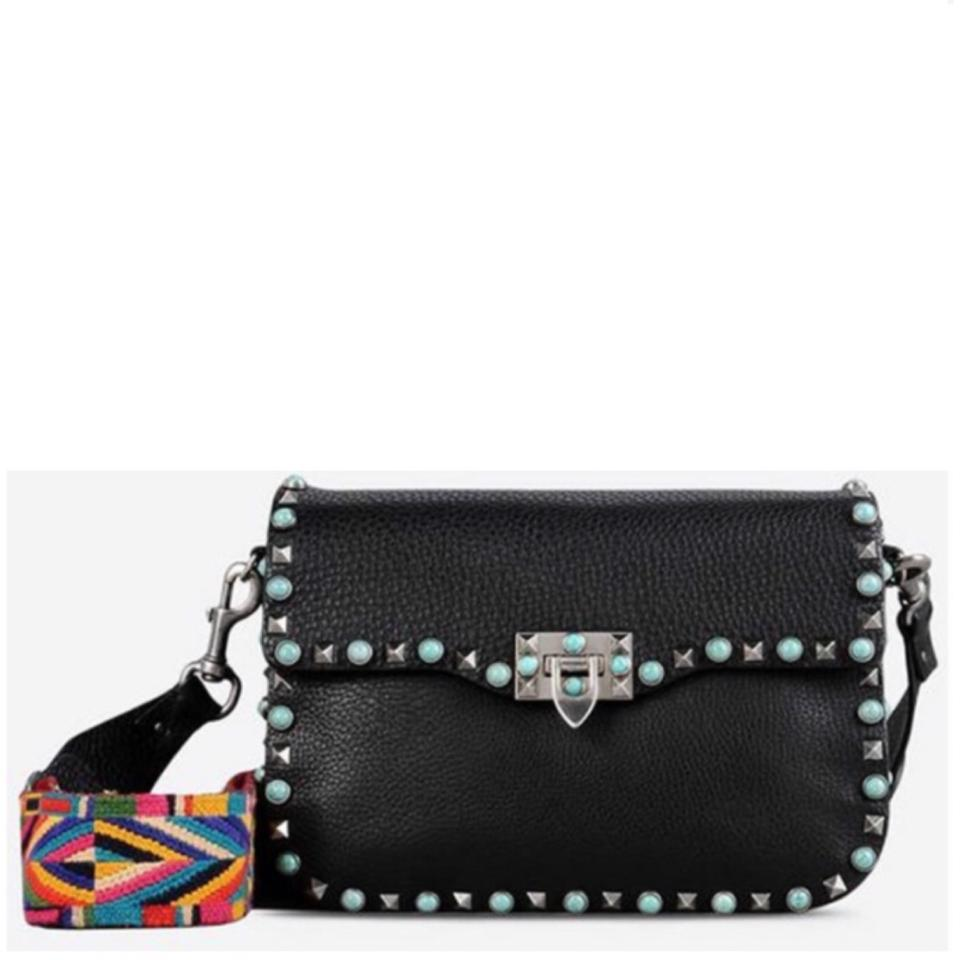3143089251 Valentino Medium Rockstud Rolling Enchanted Guitar Strap Black Leather Cross  Body Bag