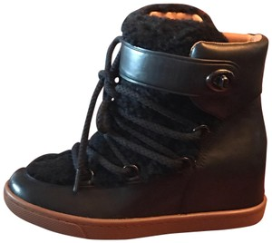 Coach Leather Shearling Wedge Black Boots
