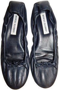 Manolo Blahnik Ballet Leather Bow Blue Flats