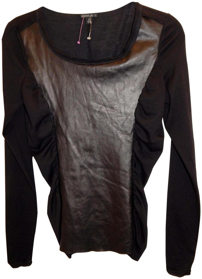 012bc0c77528d Lafayette 148 New York Black Blend Ruched Leather Stretch Blouse ...