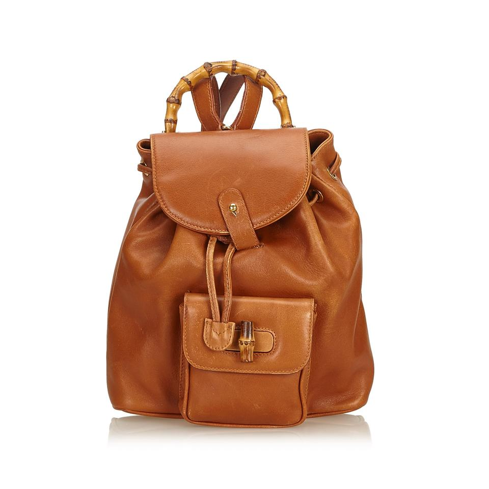 64c22168212 Gucci Bamboo Drawstring Brown Leather X Others Backpack - Tradesy