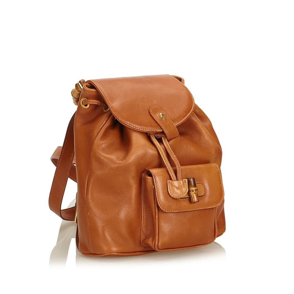 dd90681d262b Gucci Bamboo Drawstring Brown Leather X Others Backpack - Tradesy