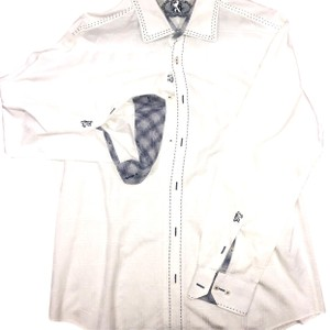 Bugatchi Like New Dryclean Only Button Down Shirt white blue