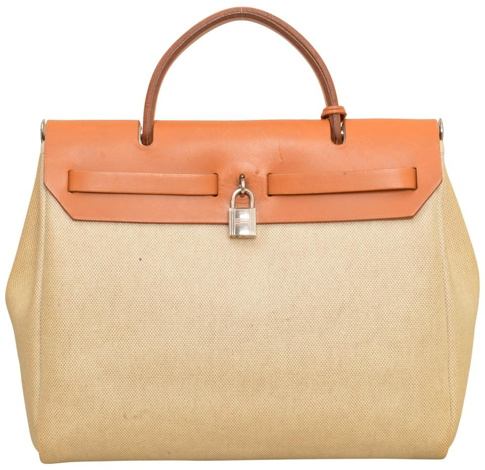 41d6e75849db4 Hermès Herbag Toile Pm Ivory Cream Coated Canvas   Natural Leather Satchel