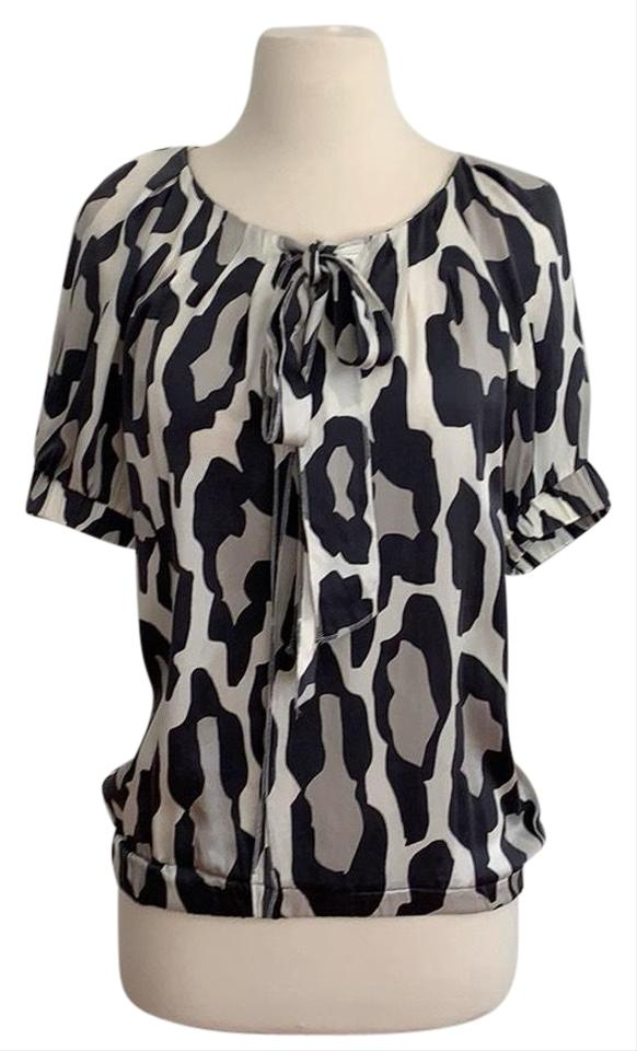 1fa8f2a79c5e Sonia Rykiel Multi Black/ Grey with Light Cream Background By Animal Print  Blouse