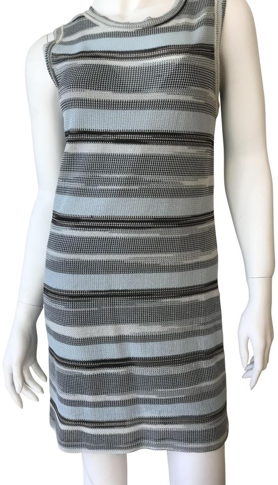 abdf989211195 M Missoni Sky Blue/White/Black Classic Short Casual Dress Size 6 (S ...