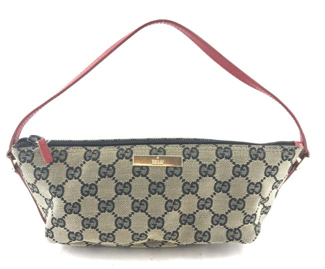 Item - Clutch #26183 Gg Loco Pochette Zip Satchel ssima Iconic Beige and Red Canvas Baguette