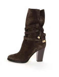Jimmy Choo Strap Heeled Suede Brown Boots