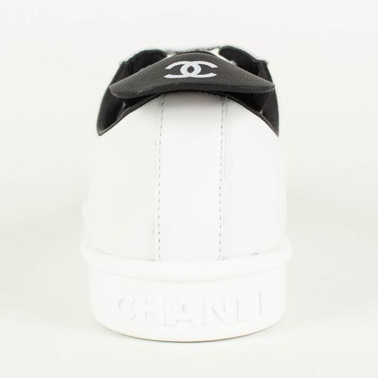 Chanel Logo Lace Up Fabric Sneaker White Athletic