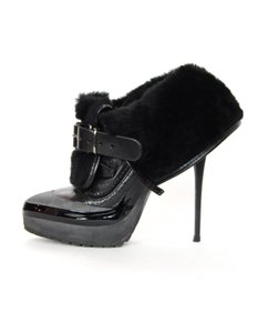 Burberry Leather Shearling High Heels Ankle Black/Grey Boots