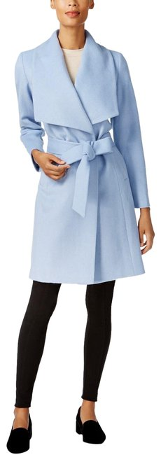 Item - Ice Blue Wrap Belted Coat Size 6 (S)