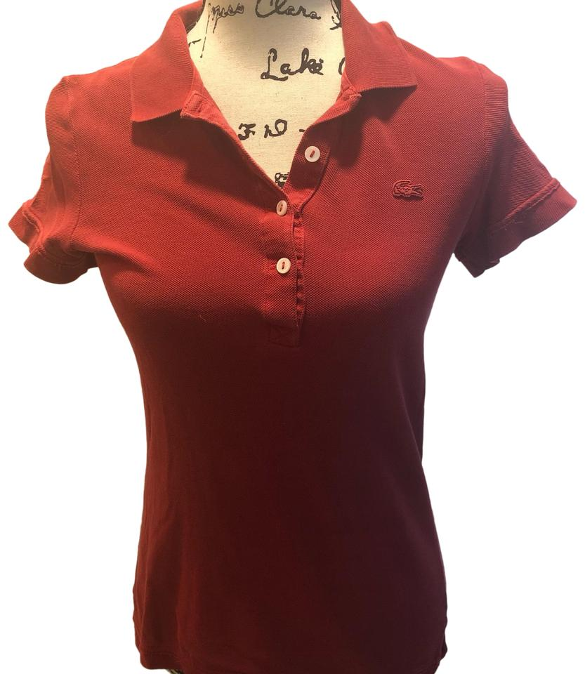Lacoste Red Vintage Washed Button Down Top Size 2 Xs Tradesy