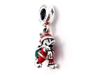 PANDORA PANDORA Disney, Santa Mickey & Gift Bag Dangle Charm, Red & Green Enam