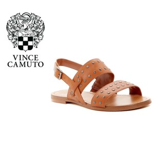19c967dc2bc0 Vince Camuto Buckle Studded Leather Open Toe Slingback Brown Sandals