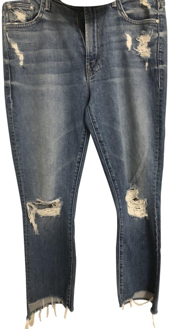 Item - Blue Distressed Insider Crop Fray Capri/Cropped Jeans Size 28 (4, S)