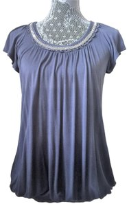 One World Embellished Date Night Night Out Top Gray Ombre