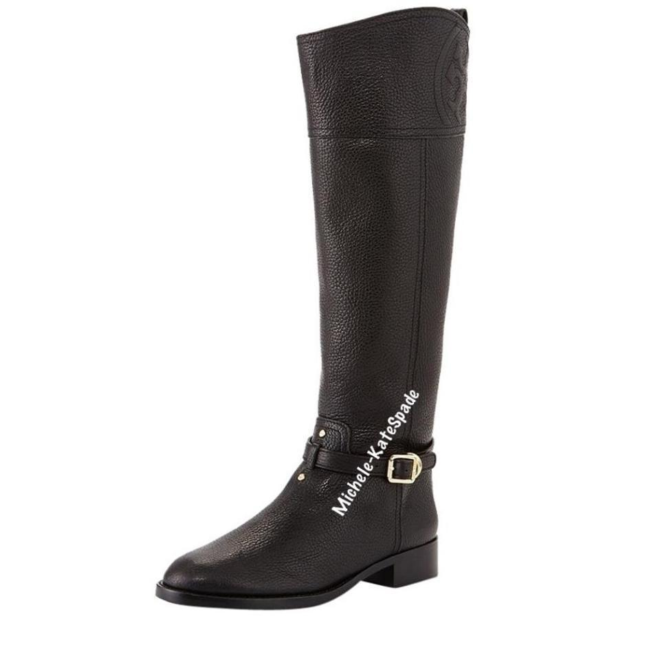 426484cd1a6b91 Tory Burch Black Marlene Riding - Tumled Leather Boots Booties Size ...