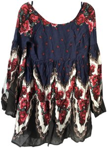 Free People short dress Navy Embroidered Bold Scoop Back Midi on Tradesy