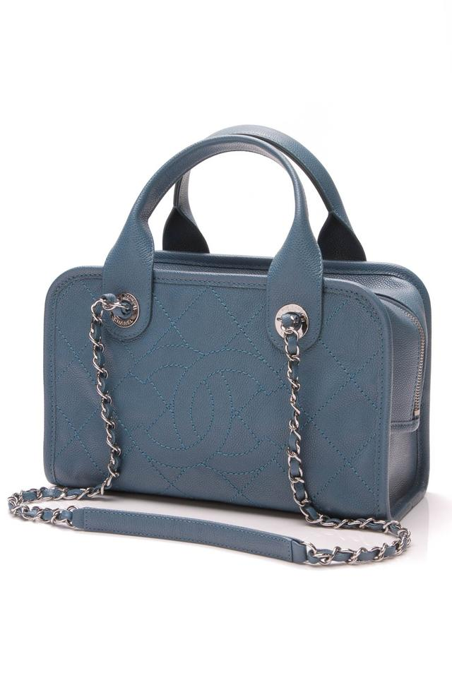 051b0c9897b4 Chanel Bowling Deauville Small - Quilted Caviar Blue Leather Shoulder Bag