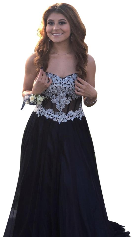 1ee68994c85 Blondie Nites Navy and Silver Prom Long Formal Dress Size 4 (S ...