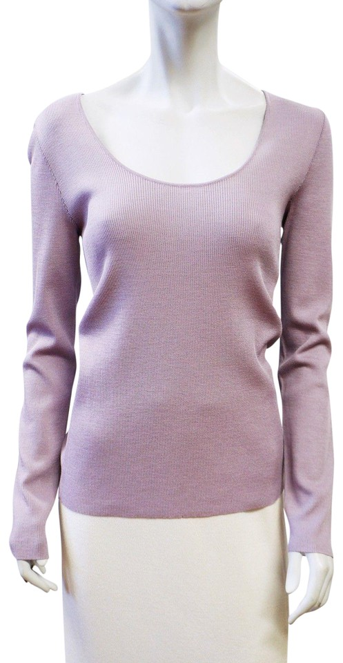 2ced8e6ae7e5 St. John Wisteria New Light Purple Ultra Fine Rib Knit Sweater ...