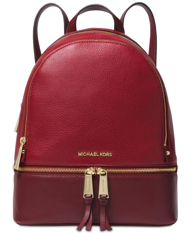 a74be60af970 Michael Kors Rhea Colorblock Pebble Maroon/Oxblood/Gold Leather Backpack
