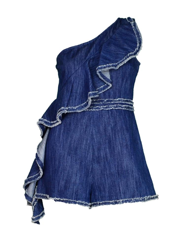 89664f2cf430 Alexis Blue Denim One Shoulder Asymmetrical Ruffle Blakely Jumper Romper  Romper Jumpsuit