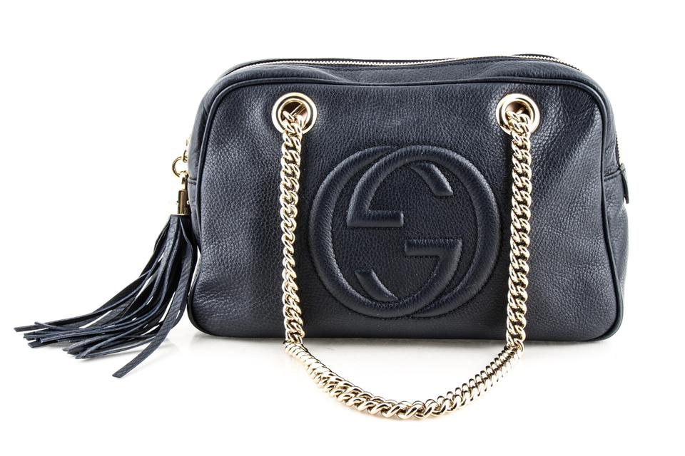 b3eef95b91e Gucci Soho Pebbled Small Chain Blue Calfskin Leather Shoulder Bag ...