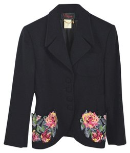 Lolita Lempicka Fall Winter Holiday Embroidered Night Out Black/Pink/Blue Blazer