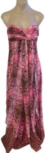 Pink and black Maxi Dress by Laundry by Shelli Segal Empire Waist Strapless Boned