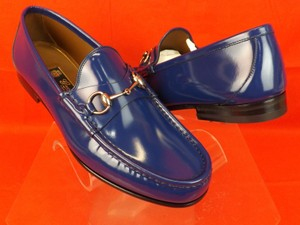 Gucci Blue Horsebit Mens Royal Shade Leather Silver Loafers 8.5 9.5 387598 Shoes