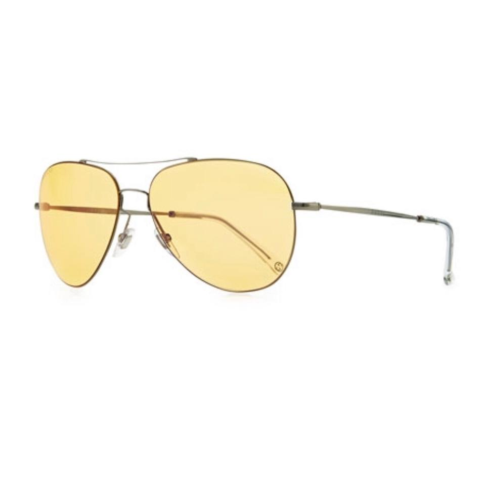 446a2cc5af5 Gucci Yellow and Dark Gray Flash Lens Aviator Sunglasses - Tradesy