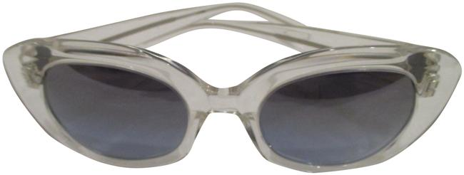 Item - White and Blue L W Crystal Loulou W/ Steel Flash Mirror Sunglasses