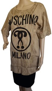 Moschino Recycle Logo Monogram Embroidered Print Top Brown