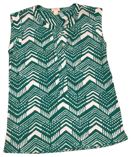 Item - Green and White Printed Tunic Size 0 (XS)