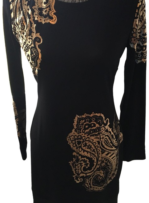 Item - Black/Gold Cache Mid-length Night Out Dress Size 6 (S)